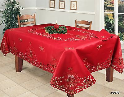 Christmas Embroidered Red Poinsettia Tablecloth with Napkins Beige 3778E Holiday