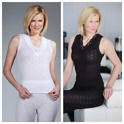 New Womens Ladies Soft Warm Winter French Lace V Neck Thermal Vest Top Spencer