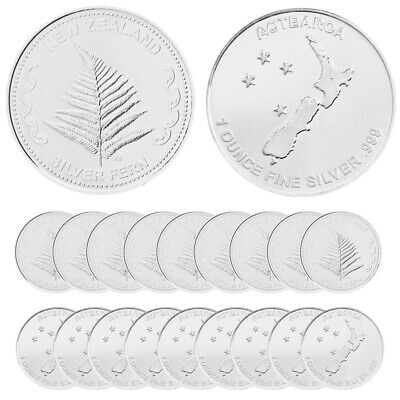 New Zealand Fern Silver Rounds - 20 oz Total .999 (New, Lot, Roll, Tube of 20)