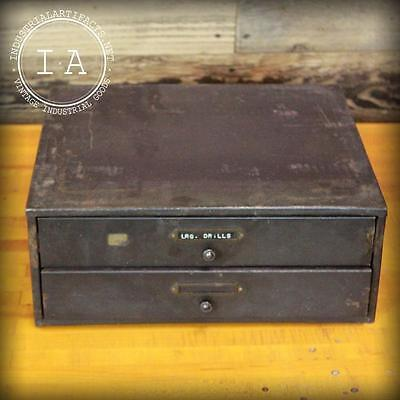 Vintage Metal Two Drawer Parts Tool Cabinet