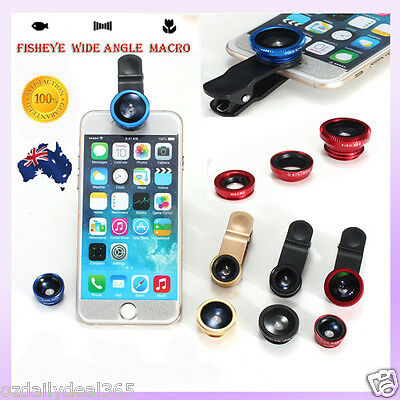 3in1 Lens For iPhone 5s Android Samsung Fish Eye Wide Angle Macro Camera Clip OZ