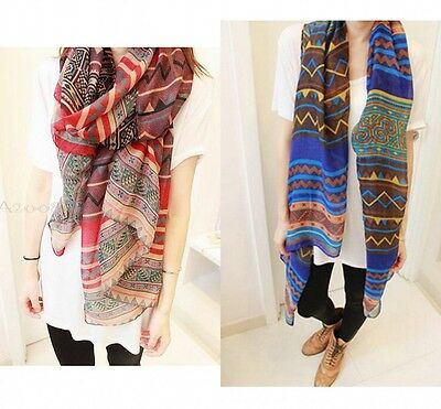 Boho Women Soft Cotton Voile Long Neck Scarf Wrap Shawl Scarves Stole Print New