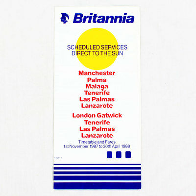 Britannia Airways - 1st November 1987 Sich 30th April 1988 - Airline Zeitplan