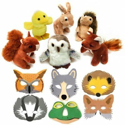 6 Woodland Animal Soft Toys and 6 Woodland Animal Foam Face Masks