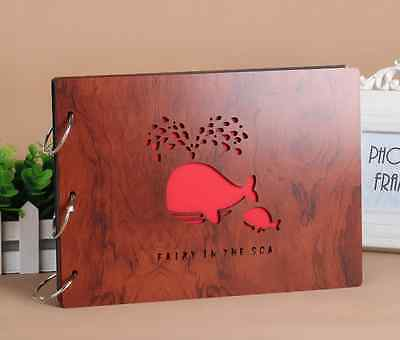 DIY 30Pages 27.3 x 19.8cm Wood Cover 3 Rings Photo Album Scrapbook WHALE