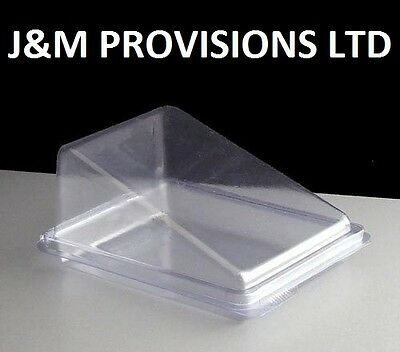 100 X Clear CAKE Slice Wedge Box Container - Deli Takeaway