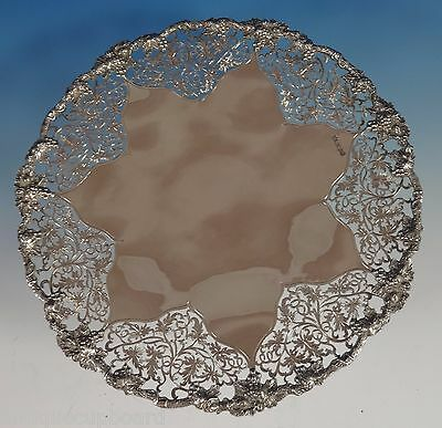 Chased & Pierced Vine by Ehp & Co. English Sterling Silver Cake Plate (#0878)