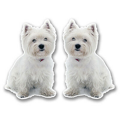 2 x 10cm West Highland Terrier Vinyl Stickers Decals Laptop Car Westie Dog #6292