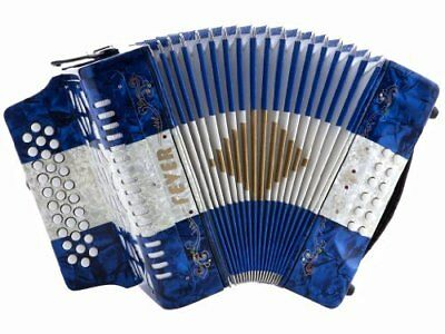 Fever Button Accordion 31 Keys 12 Bass, GCF Key Blue, White And Blue, F3112-BWB