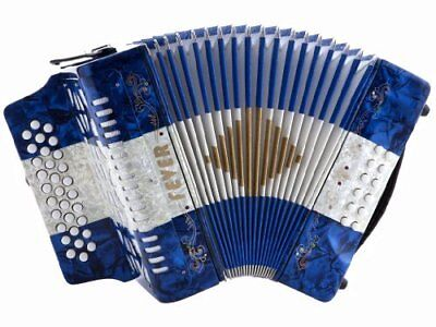 Fever Button Accordion 31 Keys 12 Bass on GCF Key, Blue, White And Blue