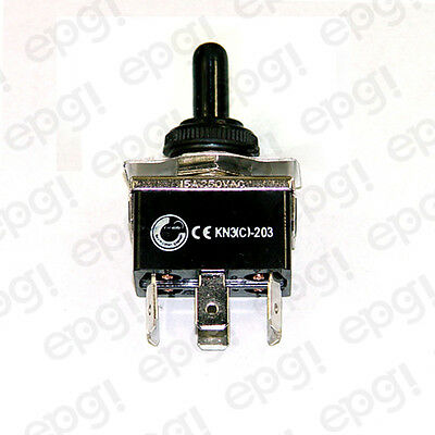 TOGGLE SWITCH MOMENTARY DPDT 6P C/O (ON)-OFF-(ON) SPADE w/BOOT CVR#661951/665001