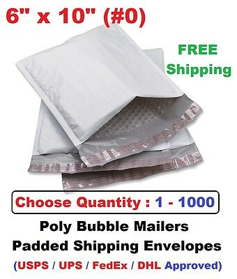 #0 6x10 Poly Bubble Mailers Padded Shipping Envelopes Self Sealing Bags 1 - 1000