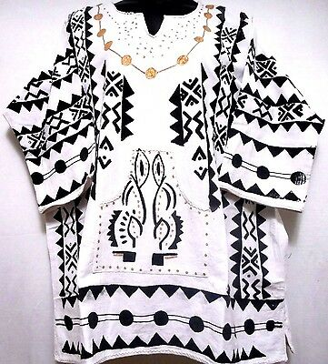Vintage Men women Mud cloth dashiki Shirt African Blouse Organic Cotton One Size