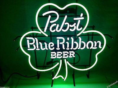 Rare PABST BLUE RIBBON BEER SHAMROCK Beer Bar Light Real Neon Sign FREE SHIPPING