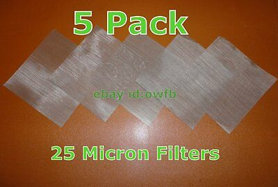 """(5 Pack) 4""""x4""""- 25 Micron Mesh Stainless Steel- Rosin Tech Screen"""