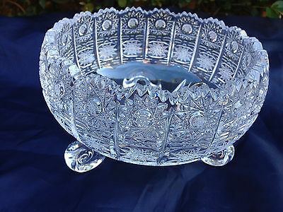 """Vintage Bohemia Queen Lace Hand Cut 24% Lead Crystal Round Footed Bowl 6"""" Nib"""