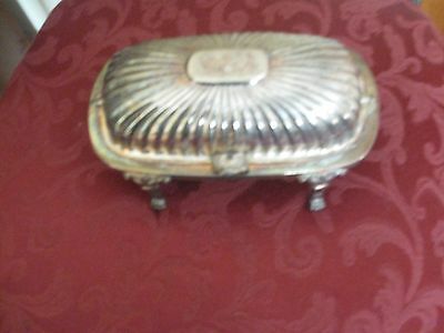 Antique Silverplated Roll Top Butter Dish With Glass Inserts