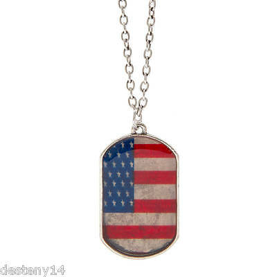 Stars and Stripes Flag Dog Tag Pendant Necklace NWT