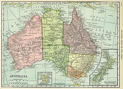 map of Australia full Poster print  world globe art New Zealand