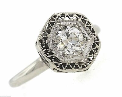 Stunning Ladies Antique Art Deco 14K White Gold 0.47ct Diamond Engagement Ring