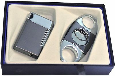 Visol Cigar Combo Butane Lighter and Cigar Cutter Gift Set, New in Gift Box