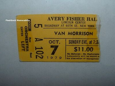 VAN MORRISON 1979 Concert Ticket Stub LINCOLN CENTER Avery Fisher Hall THEM Rare