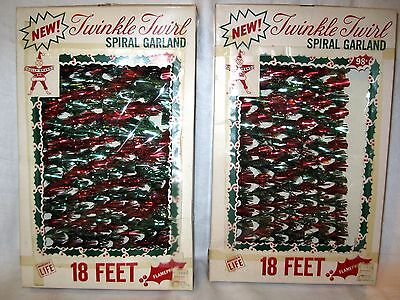 estate find 2 boxes unused Vintage HOLLY BRAND TWINKLE TWIRL SPIRAL GARLAND 18ft