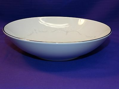 Noritake Bone China Whitebrook 6441 Round Vegetable Serving Bowl W/platinum