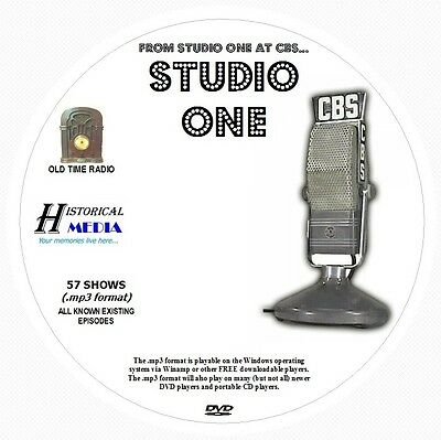 STUDIO ONE - 57 Shows Old Time Radio In MP3 Format OTR On 1 DVD