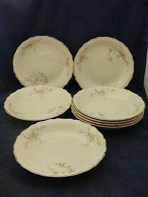 """8 Canonsburg Pottery Keystone Pink Roses Gold Trim 7.75"""" Soup Bowls"""