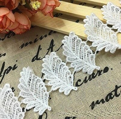 FD3071 Elegant Leaves Embroidered Lace Sewing Trim DIY Craft Appliques 1 Yard