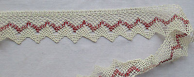 Vintage White Cotton Lace w/Turkish Red Accent Scalloped  French