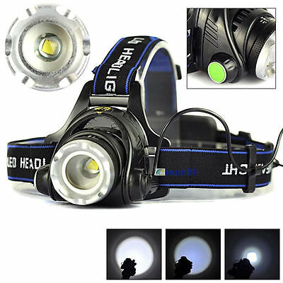 5000LM CREE XML T6 LED Headlamp 18650 Head Torch Camping Light 3Mode Head Switch