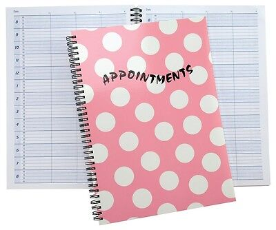 Beauty Tanning Salon Appointment Pad pink spot spiral book 150 days 15 min slots