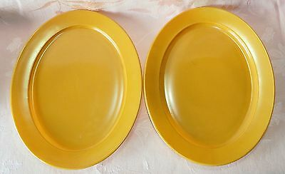 Vintage Set of Two Serving Platters Fired On Orange Top Milk Glass NICE