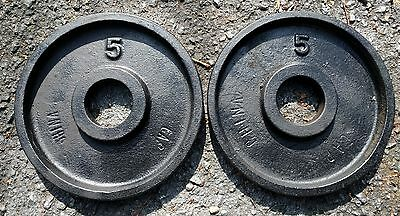 """DEEP DISH Wide Flange Olympic 5 lb x 4  Weight Plates Pairs 2"""" Cap Barbell 4x5"""