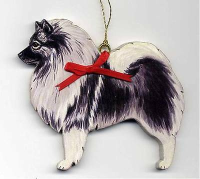 KEESHOND Wooden Dog ORNAMENT - Customized w/Name  !