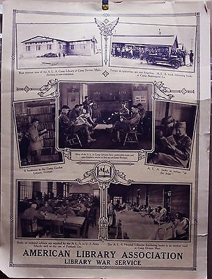 """American Library Assn. Library War Service WWI 20"""" x 15"""" original poster 1918"""