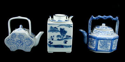 Vintage Rare Unique Chinese Tea Pots Sake Square Octagonal Blue White Teapot