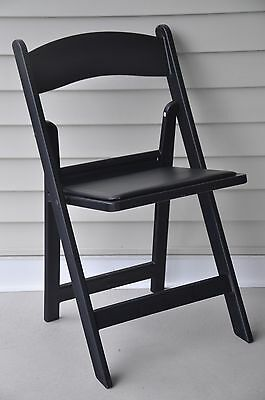 16 Chairs Folding Black Resin Stacking Padded Wedding Day Holiday Party Chair