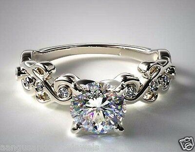 Real 1.50ct Brilliant Cut Pave Set Diamond Engagement Ring 14k Solid White Gold