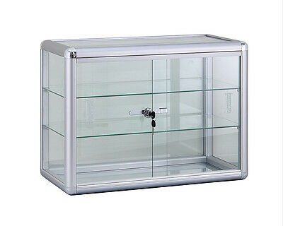 """Glass Counter Top Display Case 24""""x18"""" W/Lock Silver Finish - NEW YORK PICKUP"""