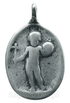 STANDING CHILD JESUS / FACE OF MADONNA silver Medal, cast from antique original
