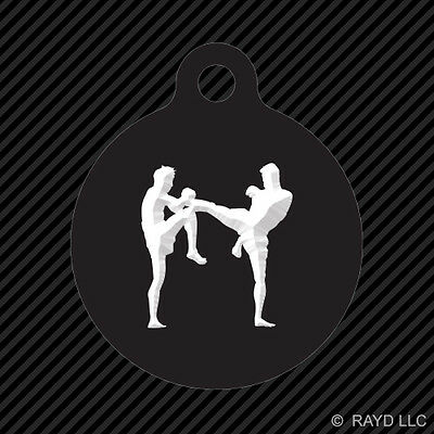 Muay Thai Kickboxing Keychain Round with Tab dog engraved many colors mma