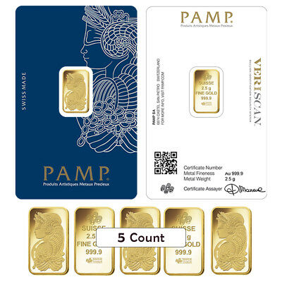 Lot of 5 - 2.5 gram Gold Bar PAMP Suisse Lady Fortuna Veriscan .9999 Fine (In As