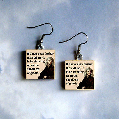 ISAAC NEWTON physics Altered Art Quote EARRINGS