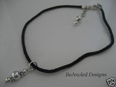 Soft Silk Cord Anklet in Black with Shiny Silver drop