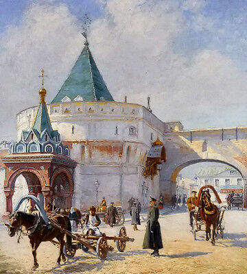 Oil painting Emile Schmidt Wehrlin - view of moscow with carriage in winter art