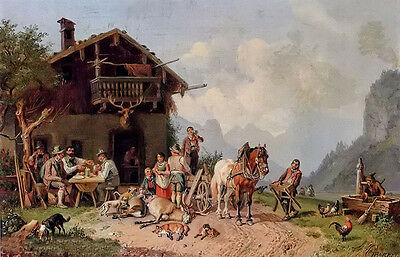 Oil painting heinrich burkel - after the hunt villagers in landscape no framed @