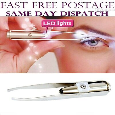 EYEBROW EYELASH TWEEZERS with Built-In LED LIGHT Hair Removal Makeup Tool AU